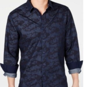 American Rag blue camouflage button down shirt 2XL